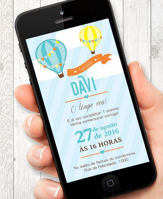 Convite de aniversário infantil e virtual
