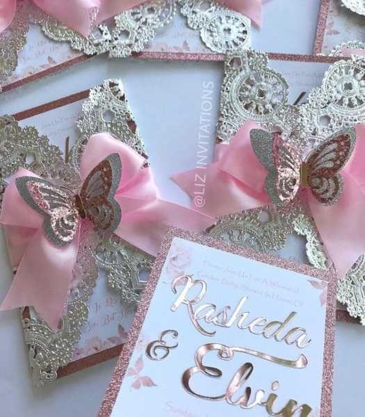 Convite de aniversário infantil rosa e dourada