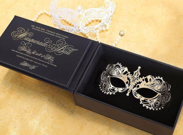Convite baile de máscaras para festas luxuosas