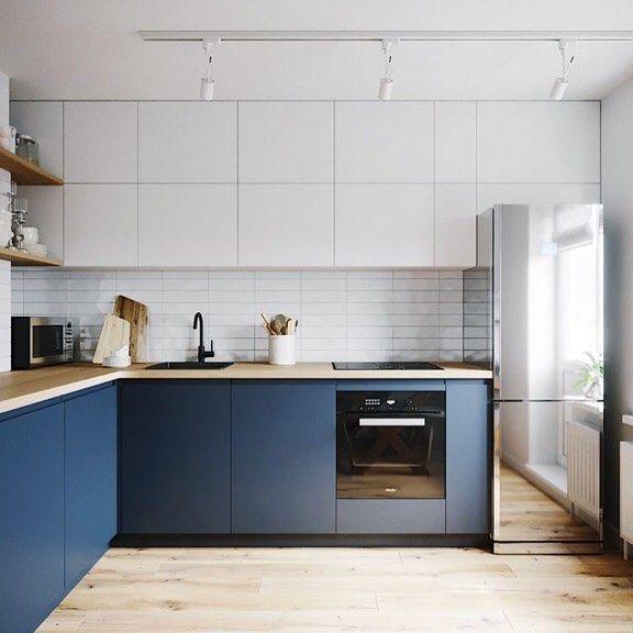 Cozinha com armários na cor do ano e branco