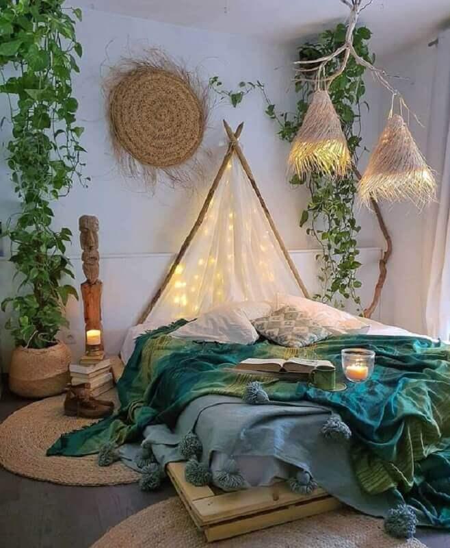 decoração boho de quarto juvenil Foto Pinterest