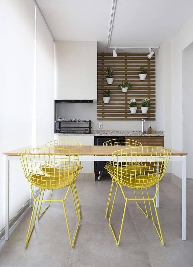 decoração clean com jogo de cadeiras para varanda moderna Foto Decorare