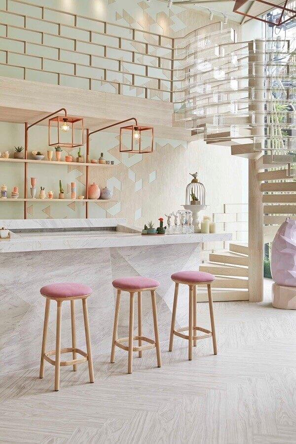 decoração clean para cozinha com pendente cobre rose quadrado Foto We Heart It