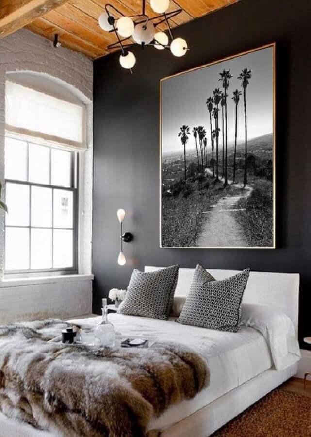 decoração com quadro grande para quarto de casal com parede cinza Foto Etsy