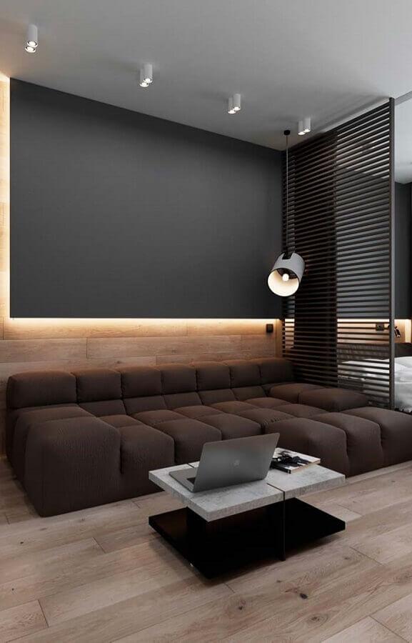 decoração contemporânea para sala com parede preta e sofá moderno Foto Pinterest