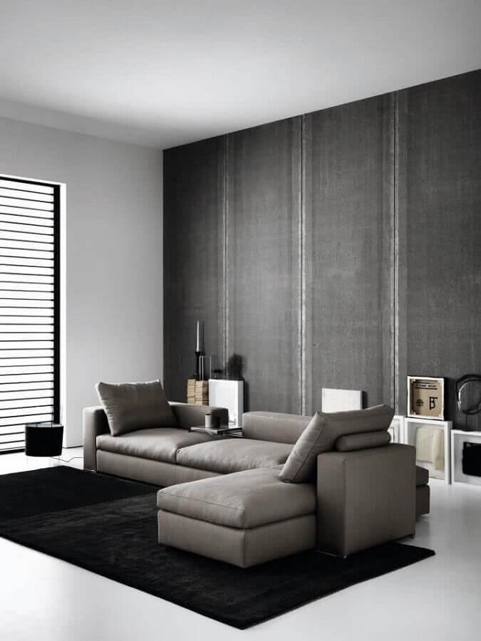 decoração contemporânea para sala com sofá cinza com chaise Foto HomeIt