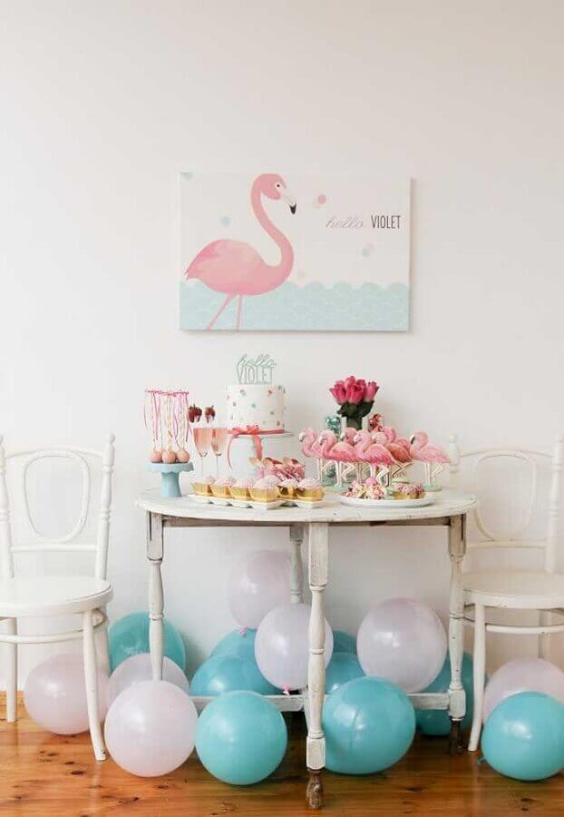 decoração de festas flamingo simples Foto Pinterest