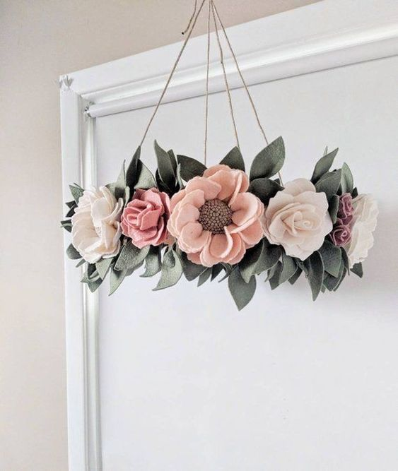 Room decoration with felt flower