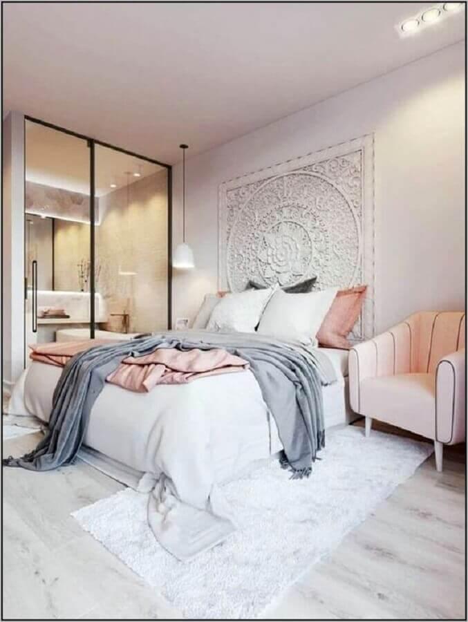 decoração de quarto juvenil feminino com guarda roupa espelhado Foto Pinterest