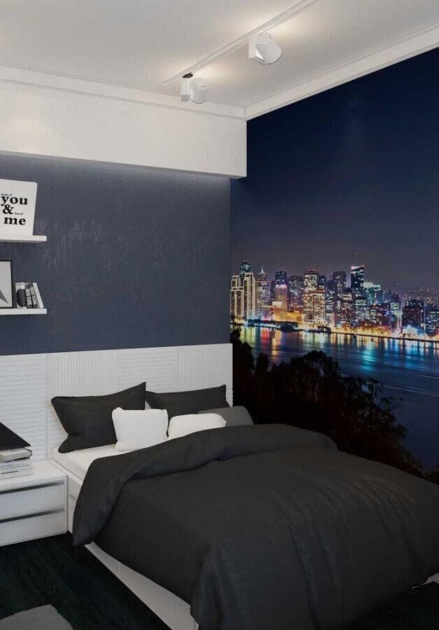 decoração de quarto juvenil masculino com papel de parede de cidade Foto Decor Ideas