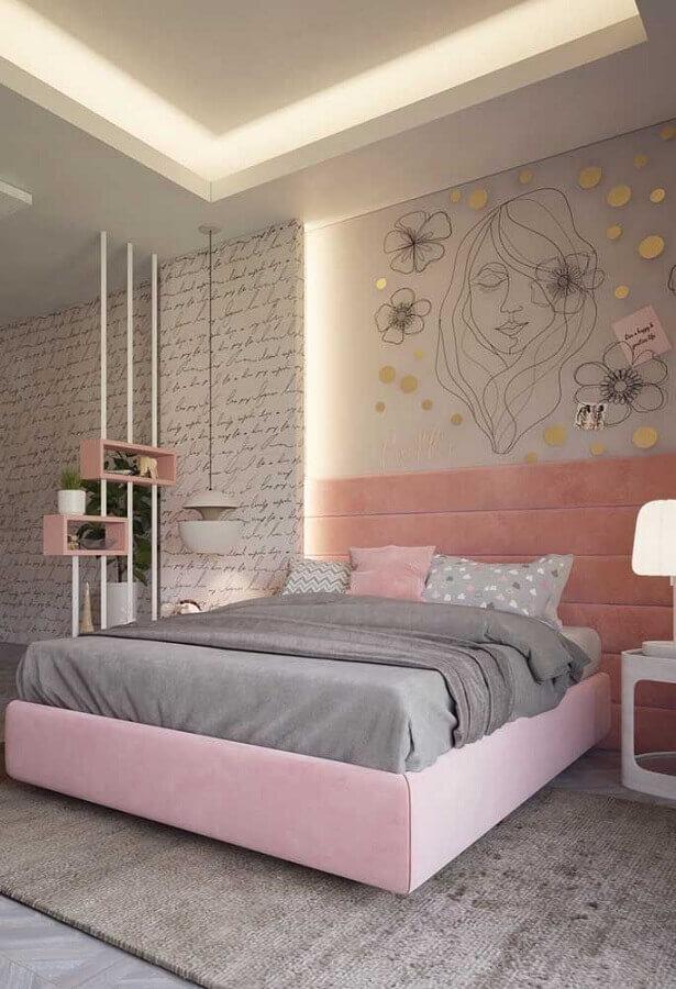 decoração delicada para quarto juvenil feminino branco e rosa Foto Pinterest]