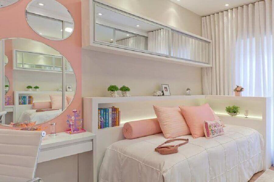 decoração delicada para quarto juvenil planejado feminino Foto Mariane e Marilda Baptista Arquitetura e Interiores