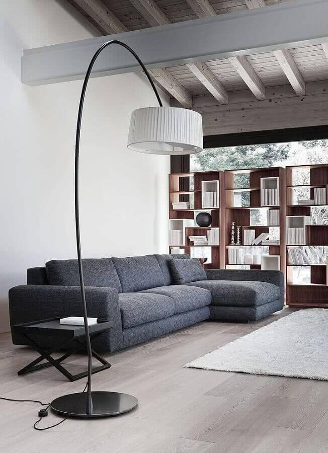 decoração minimalista para sala com sofá com chaise Foto Yandex