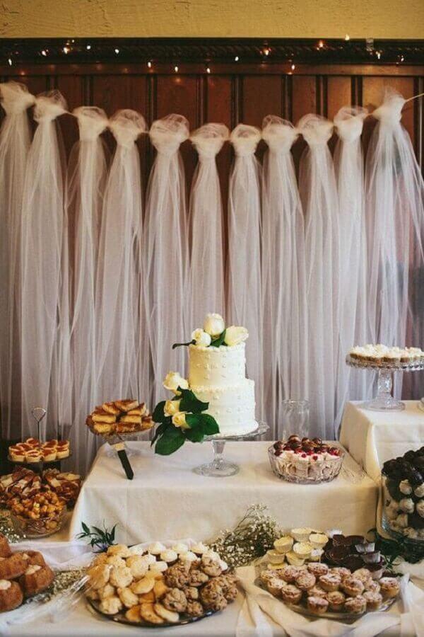 decoração para mesa de aniversário de casamento simples Foto Wedding Trousseau