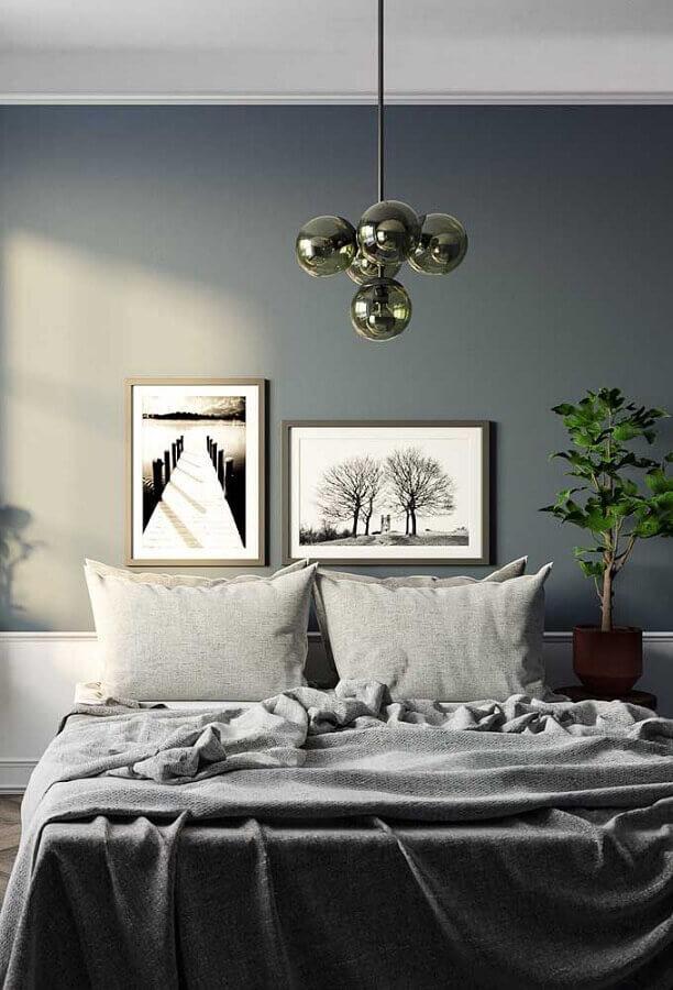 decoração simples com quadros para quarto de casal Foto Pinterest