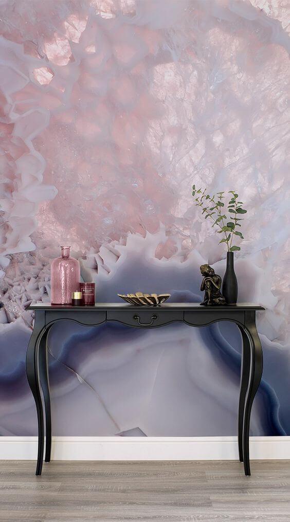 Papel de Parede colorido com aparador retrô