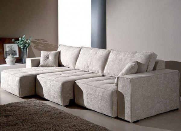 Modelo de sofá retrátil branco