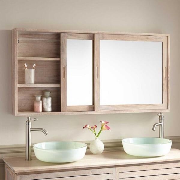 Armário com espelho para banheiro com design deslizante