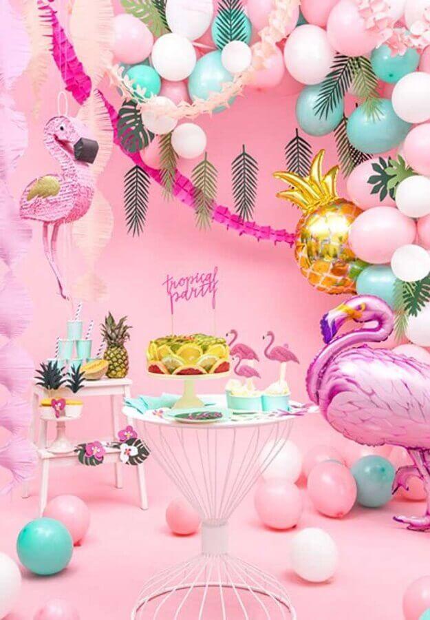 festa flamingo tropical cor de rosa Foto PartyBox
