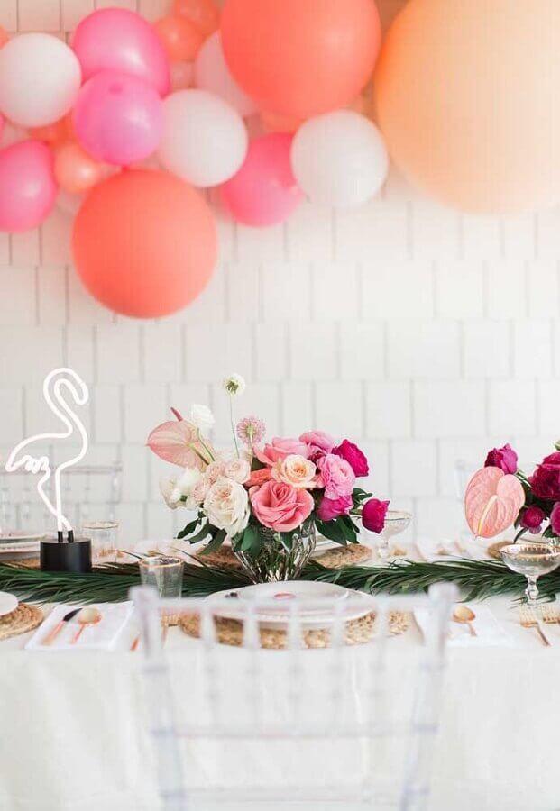 led flamingo and flower arrangement for simple flamingo party decoration Photo Pinterest