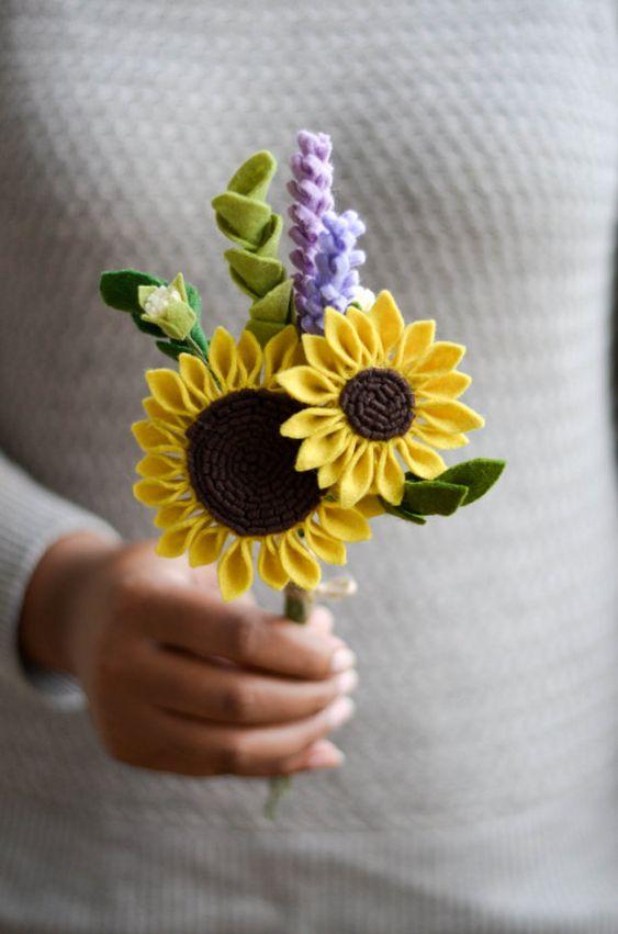 Flor de feltro girassol
