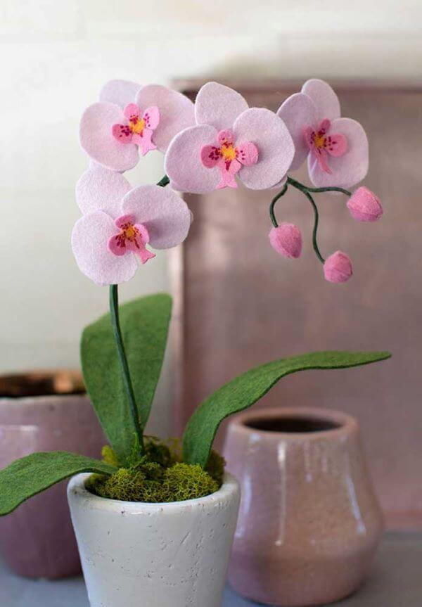 Flor de feltro orquídea lilás