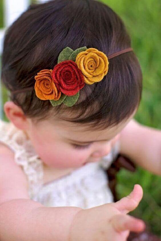 Flor de feltro para acessórios