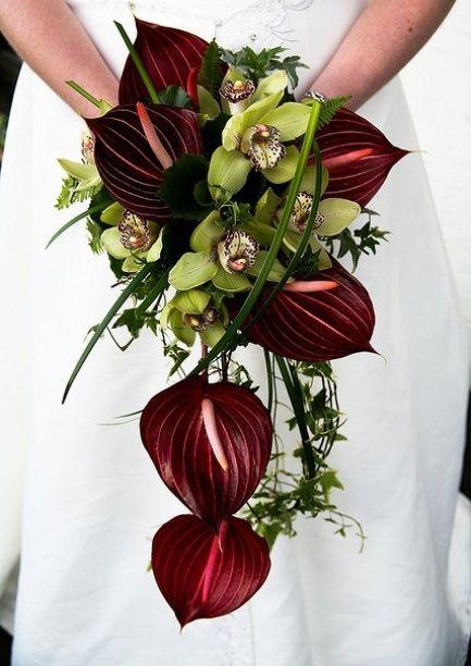 Flores vermelhas para buquê do tipo cascata