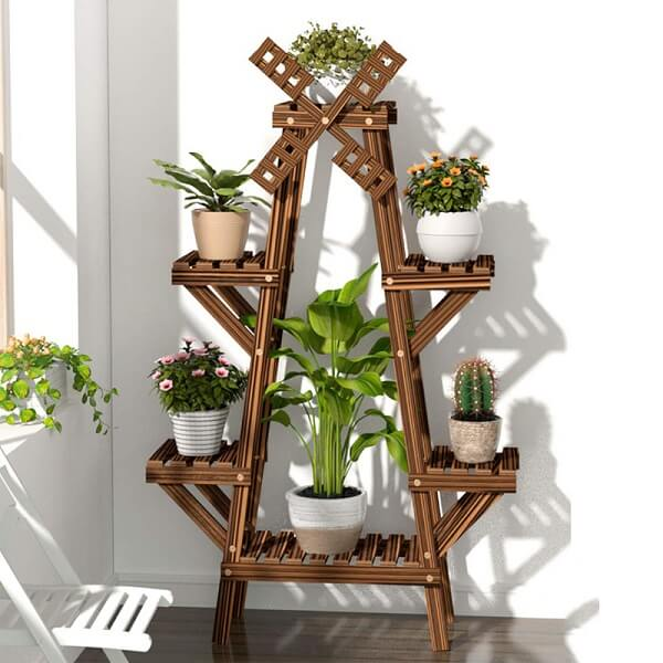 Modelo de floreira de madeira de chão com design de moinho de vento