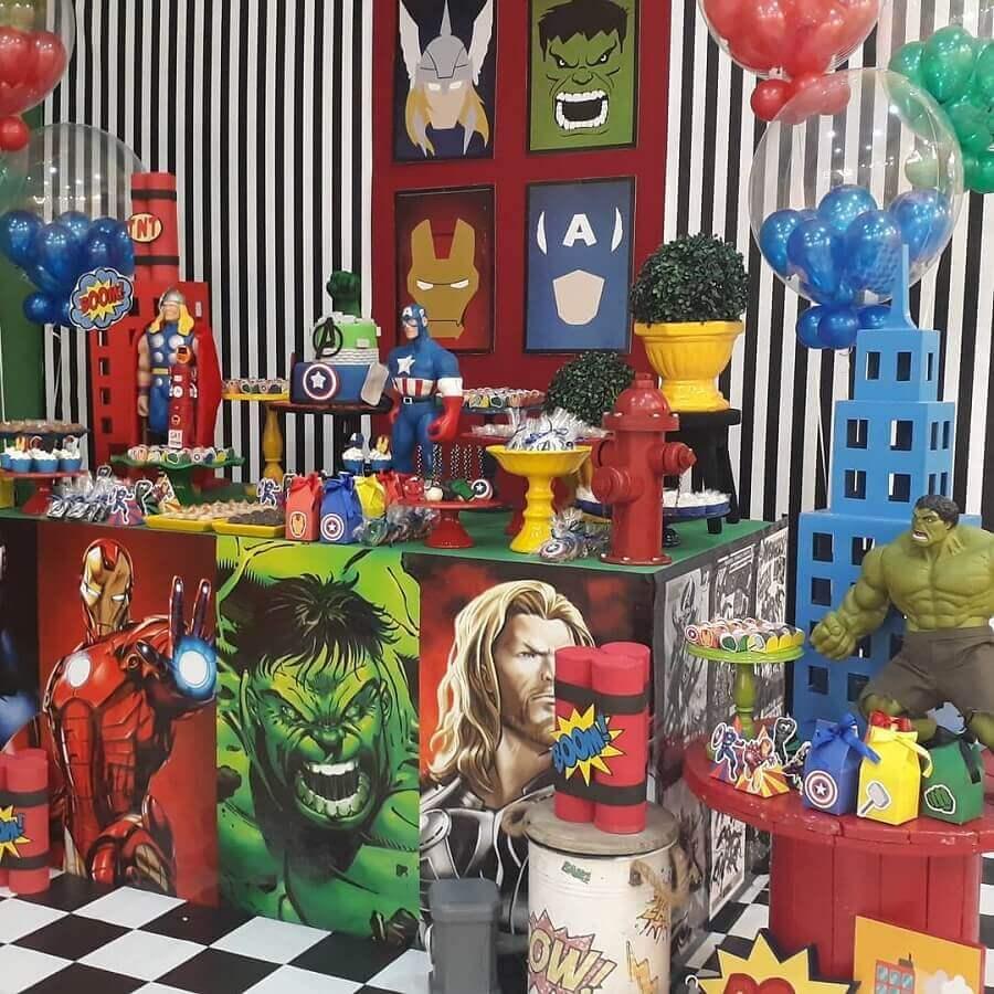 ideias para festa dos vingadores decorada Foto Funny Kids Festas
