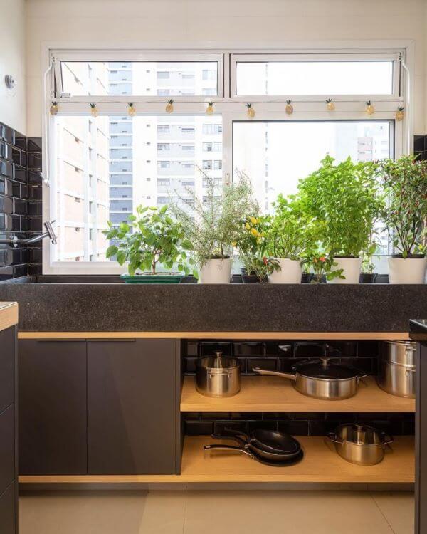 Janela de vidro para cozinha moderna