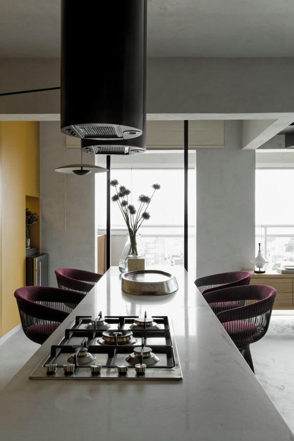 Cozinha gourmet iluminada