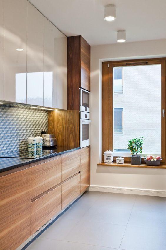 Janelas de madeira para cozinha ampla