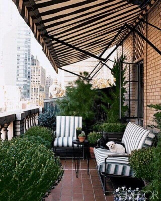 jogo de cadeiras para varanda decorada com vários vasos de plantas Foto Design Maze