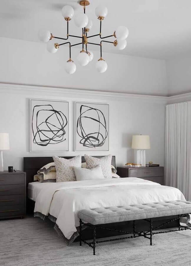 kit de quadros para quarto de casal branco com lustre moderno Foto Pinterest