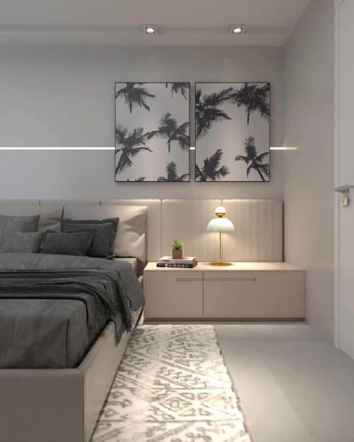 kit de quadros para quarto de casal decorado em tons neutros Foto Andrade Olivier Arquitetura