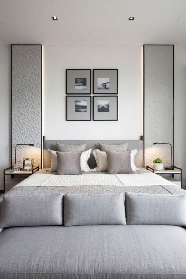 kit de quadros para quarto de casal moderno cinza e branco Foto DeCorrea