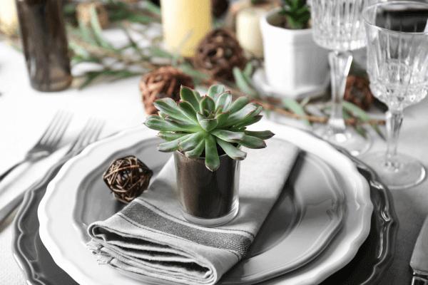Lembrancinha de mesa com suculenta