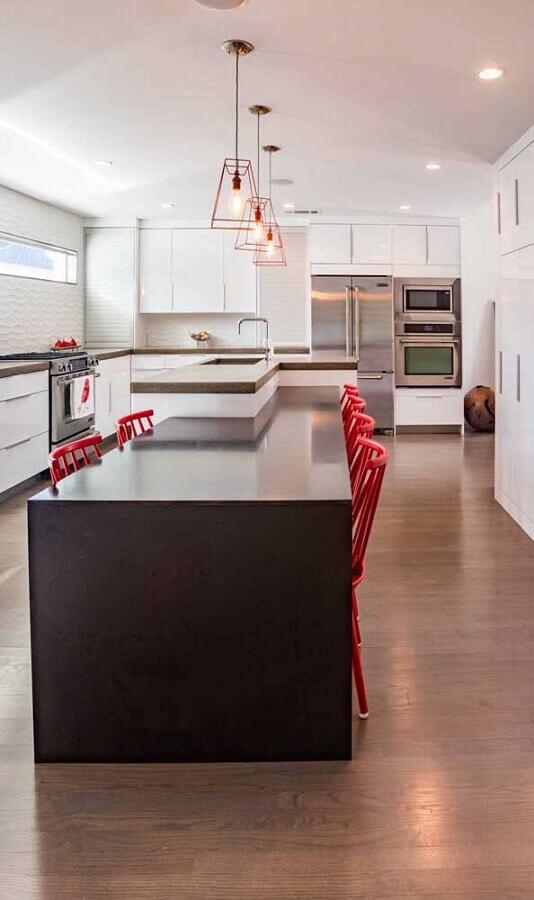 luminária pendente cobre para decoração de cozinha moderna com ilha Foto Houzz