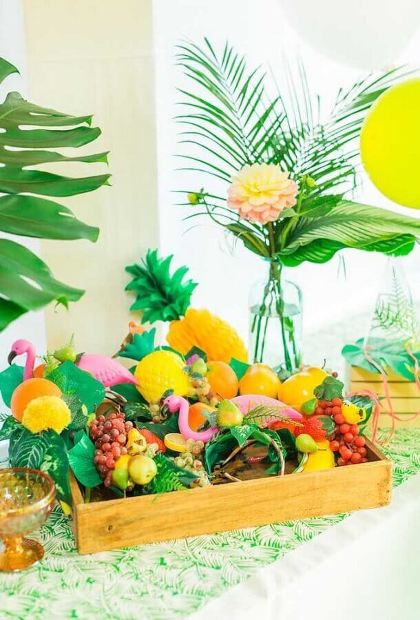 tropical flamingo party table Foto Kara's Party Ideas