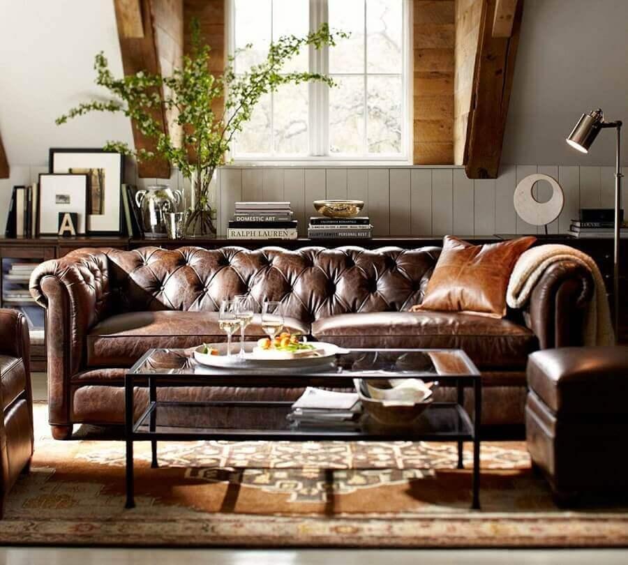modelo clássico de sofá de couro Foto Archilovers