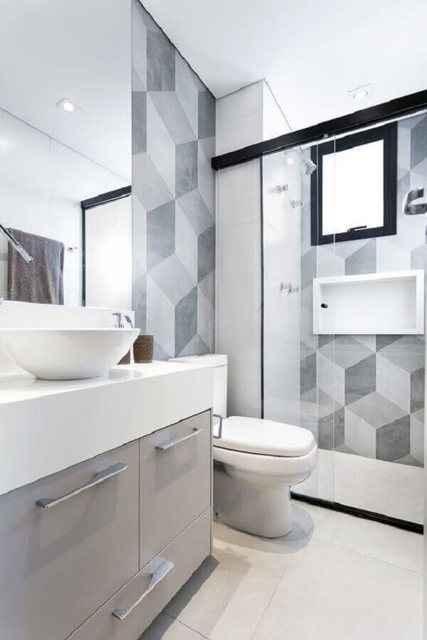 modelo de banheiro de apartamento branco e cinza Foto Casa de Valentina