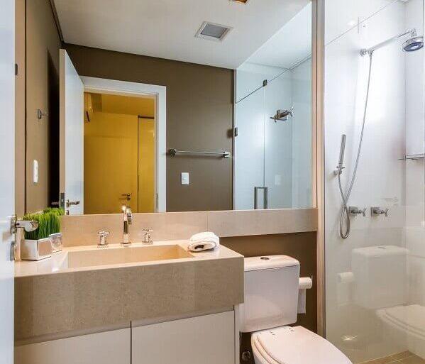 modelo de banheiro de apartamento decorado em tons neutros Foto Decor Alternativa