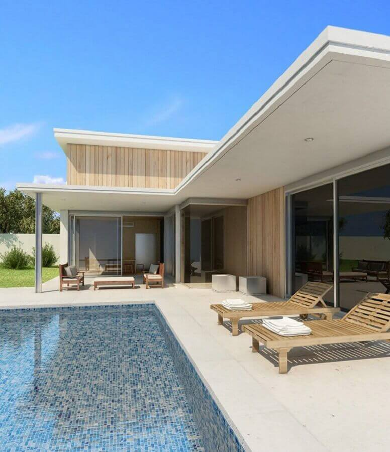 modelo de casa em l com piscina Foto Pinterest