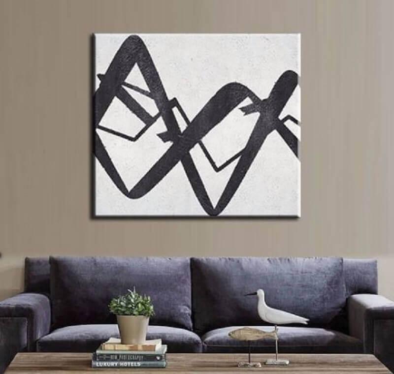 modelo de quadro preto e branco para sala Foto A Arte Decor