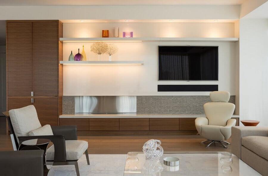 modelos de rack com painel para decoração de sala moderna e sofisticada Foto HappyModern