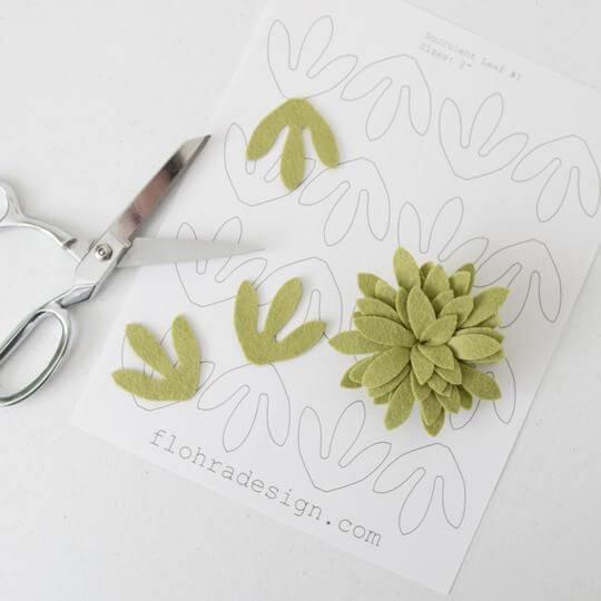Molde de flor de feltro verde
