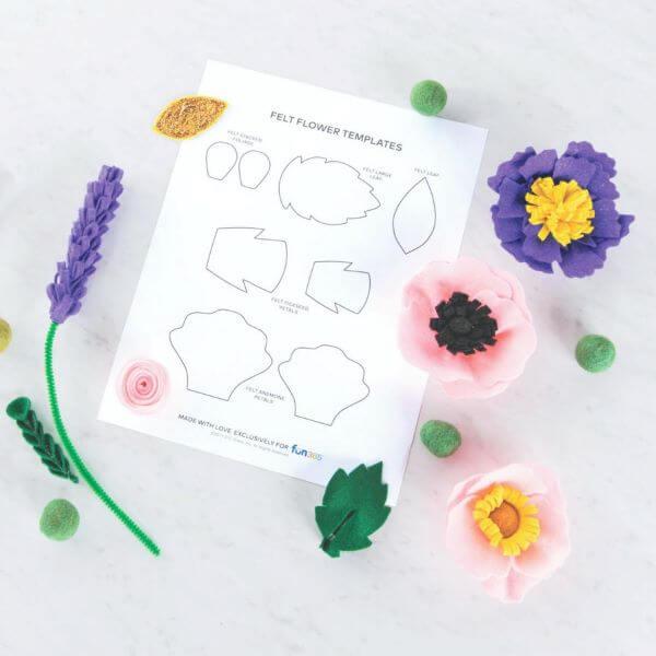 Molde de flor de feltro com folhas lindas