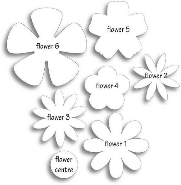 Diferentes moldes de flor de feltro