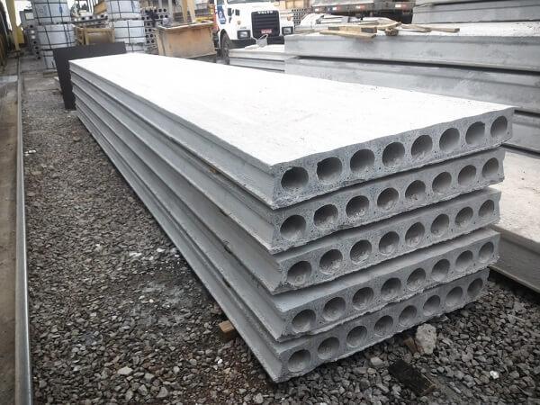 Repartições da laje alveolar de concreto